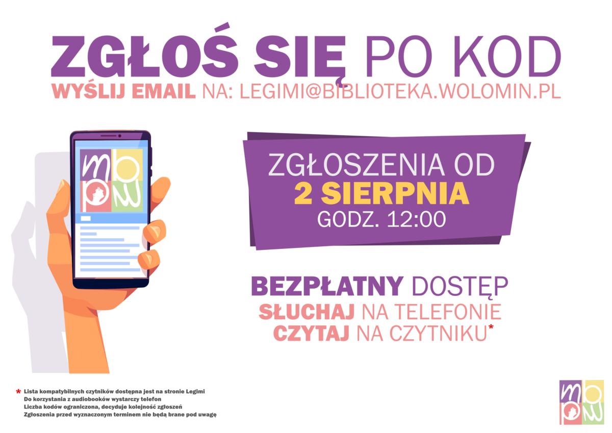 Legimi na sierpnień. Zgłoszenia od 2 sierpnia, godz. 12:00. legimi@biblioteka.wolomin.pl
